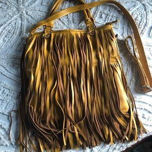 Handbags - Mustard leather fringe bag